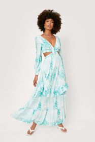 Nasty Gal Floral Print Cut Out Balloon Sleeve Maxi