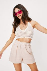 Nasty Gal Linen Relaxed Paperbag Waist Shorts