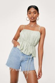 Nasty Gal Square Neck Belted Pleated Cami Top