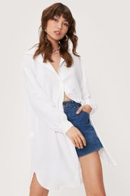 Nasty Gal Crinkle Oversized Longline Button Down S