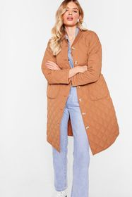 Nasty Gal Quilted Oversized Button Down Longline C