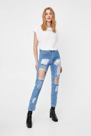 Nasty Gal Distressed High Waisted Mom Jeans
