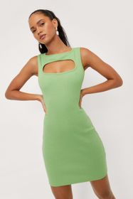 Nasty Gal Cut Out Ribbed Bodycon Mini Dress