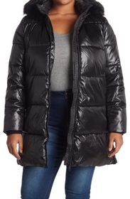 DKNY Cire Faux Fur Hooded Puffer Jacket