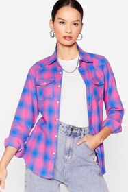 Nasty Gal Check On It Relaxed Shirt
