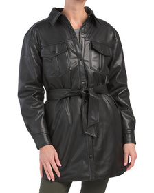 Quilted Lined Faux Leather Shacket