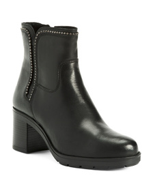 Made In Italy Block Heel Leather Chelsea Boots