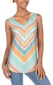 Natural Reflections Bias-Cut Striped Tank Top for