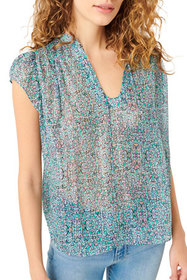7 for all mankind Flutter-Sleeve Top with Neck Ban