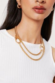 Nasty Gal Layered Curb Chain Clasp Closure Necklac
