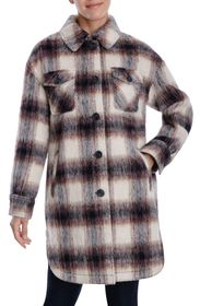 LUCKY BRAND Plaid Felted Long Shacket