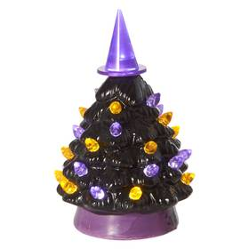 5.5in. Halloween Black Tree LED with Witch Hat Top