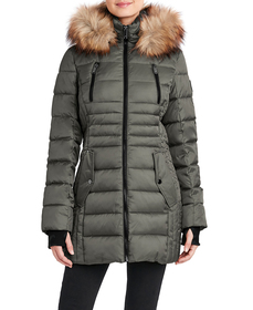 Womens HFX 32in. Puffer Coat with Faux Fur Hood