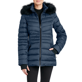 Womens HFX 26in. Puffer Coat with Faux Fur Hood
