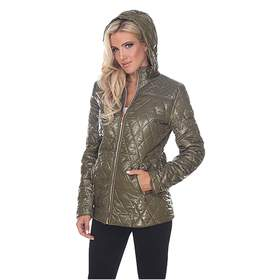 Womens White Mark Front Zip Hooded Puffer Jacket