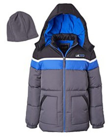 Toddler Boys Color Blocked Puffer Jacket with Flee