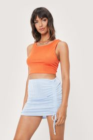 Nasty Gal Ruched High Waisted Mini Bodycon Skirt