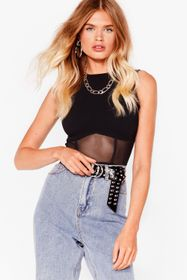 Nasty Gal Cropped High Neck Mesh Corset Top
