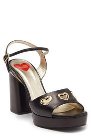 LOVE MOSCHINO Leather Heart Grommet Ankle Strap Pl