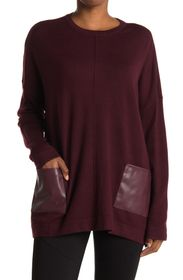 T TAHARI Faux Leather Patch Pocket Pullover Tunic