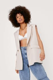 Nasty Gal Sleeveless Padded Shoulder Double Breast