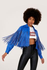 Nasty Gal Faux Leather Fringed Western Cropped Jac