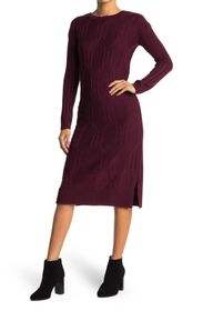 BLUE ORCHID Cabled Midi Sweater Dress
