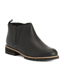 Full Grain Waterproof Leather Boots With Side Gori