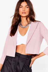 Nasty Gal Cropped Open Front Tailored Blazer
