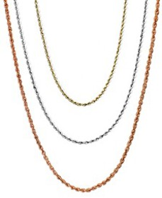 """16-20"""" Rope Chain Necklaces (1mm) in 14k Gold, Whi"""