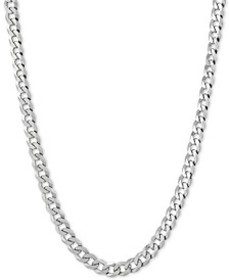 """Flat Curb Link Chain Necklace 18""""-24"""" in Sterling"""