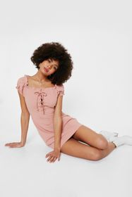 Nasty Gal Lace Up Ruched Sleeve Mini Dress