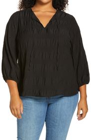 VINCE CAMUTO Smocked Blouse (Plus Size)