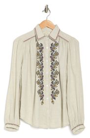 MAX STUDIO Floral Embroidered Button Front Shirt
