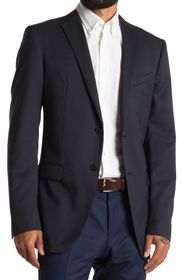JOHN VARVATOS Navy Solid Two Button Notch Lapel Wo