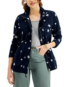 Petite Star-Print Field Jacket, Created for Macy's