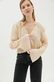 UO Aliyah Plisse Button-Front Blouse