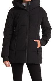 FRENCH CONNECTION Faux Fur Lined Hood Short Puffer