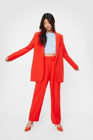 Nasty Gal High Waisted Straight Leg Tailored Trous