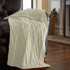Modern Threads Oversized Cable Diamond Knit Throw