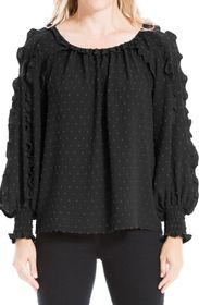 MAX STUDIO Dotted Ruffle Sleeve Blouse (Plus Size)