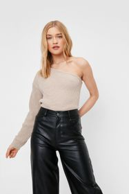 Nasty Gal Knitted One Shoulder Long Sleeve Sweater
