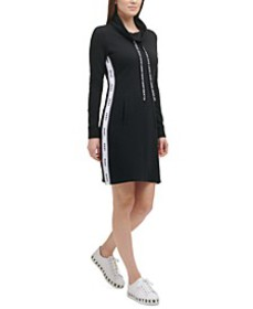 French Terry Funnel-Neck Dress