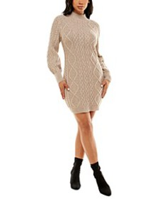 Juniors' Mock-Neck Balloon-Sleeve Cable-Knit Sweat