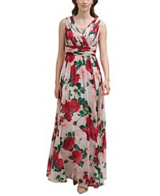 Floral-Print Pleated-Bodice Gown
