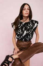 Nasty Gal Abstract Tie Dye Shoulder Pad Cropped Ve
