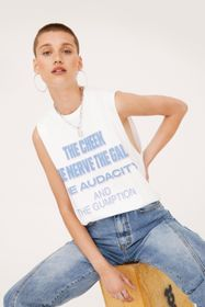 Nasty Gal The Cheek Dropped Armhole Graphic Vest T