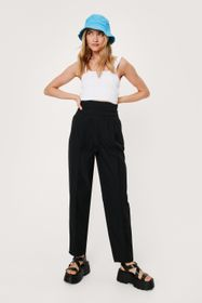 Nasty Gal Ruched High Waisted Tapered Trousers