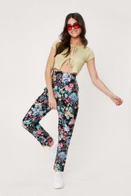 Nasty Gal Linen Look Floral Print Tapered Trousers