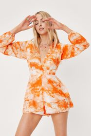 Nasty Gal Tie Dye V Neck Relaxed Tiered Playsuit